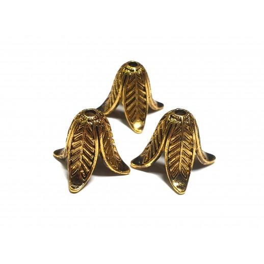"""Шапочка (наконечник) """"Листья"""" для бусины, цвет античное золото"""