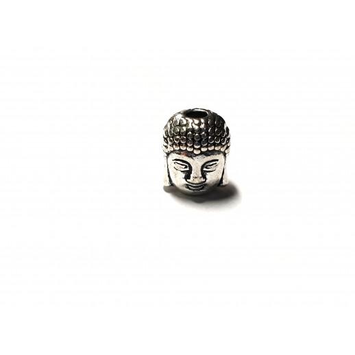 "Бусина 3D из латуни ""Будда"", цвет античное серебро"